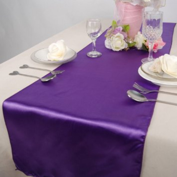 Chemin de table pas cher en satin 36cm x 9 m tres badaboum - Chemin de table violet ...