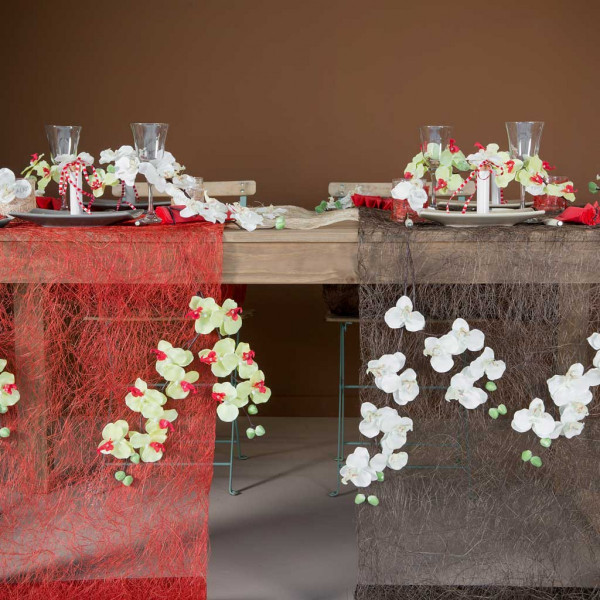 chemin de table pas cher abaca 60cm decoration mariage. Black Bedroom Furniture Sets. Home Design Ideas