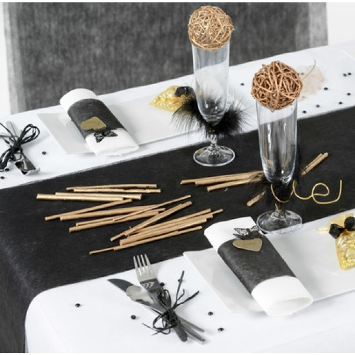 Chemin de table noir en tissu intiss deco mariage badaboum - Chemin de table tissu ...