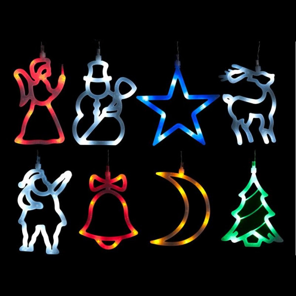 Decoration de noel lumineuse silhouette pour fenetre 8 led for Decoration fenetre noel exterieur