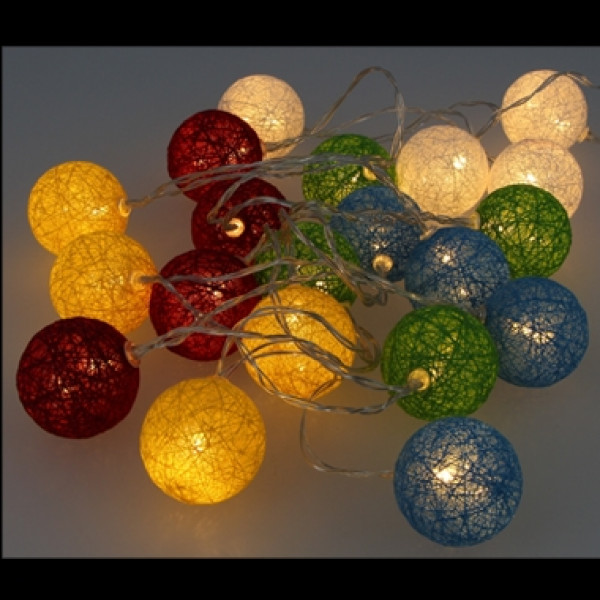 guirlande lumineuse a pile 20 led boules en coton multicolore badaboum. Black Bedroom Furniture Sets. Home Design Ideas