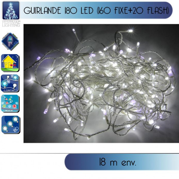 Guirlande lumineuse ext rieur 180 led blanche flash d co noel for Guirlande exterieur led
