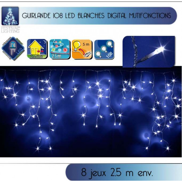 Guirlande lumineuse stalactite ext rieur 108 led blanc for Guirlande exterieur led