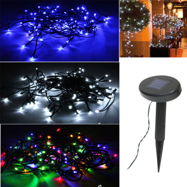 guirlande solaire ext rieur pour jardin 100 led deco noel. Black Bedroom Furniture Sets. Home Design Ideas
