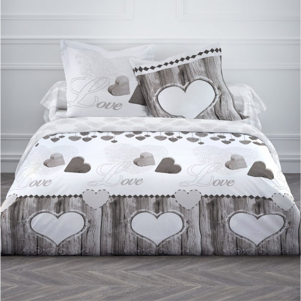 housse de couette 220x240 wood love linge de lit pas cher badaboum. Black Bedroom Furniture Sets. Home Design Ideas