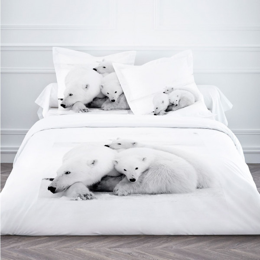 Housse de couette 220x240 ours polaire linge de lit pas for Housse de coussin pas cher