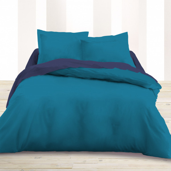 housse de couette 240x260 cm unie bleu turquoise linge de lit pas cher. Black Bedroom Furniture Sets. Home Design Ideas