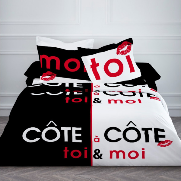 housse de couette pas cher 220x240 cote a cote badaboum. Black Bedroom Furniture Sets. Home Design Ideas