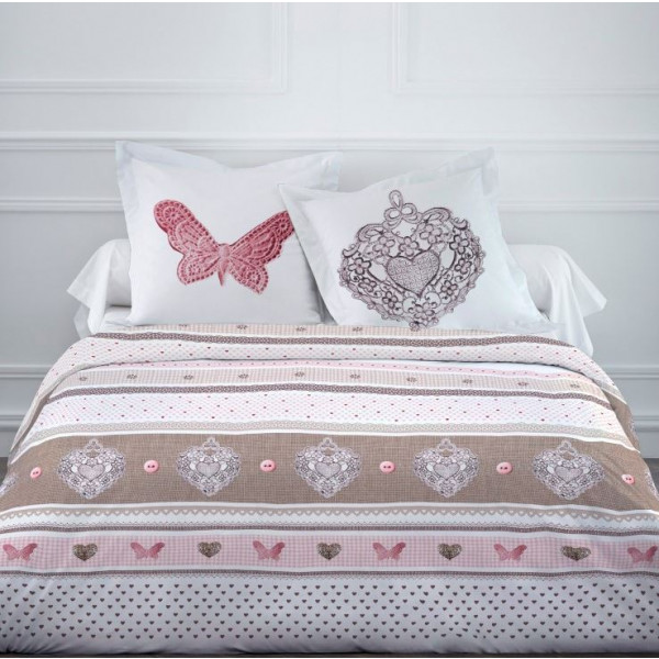 housse de couette pas cher 220x240 cute butterfly linge de maison badaboum. Black Bedroom Furniture Sets. Home Design Ideas