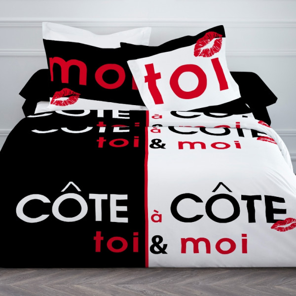 housse de couette pas cher 240x260 cote a cote linge de lit badaboum. Black Bedroom Furniture Sets. Home Design Ideas