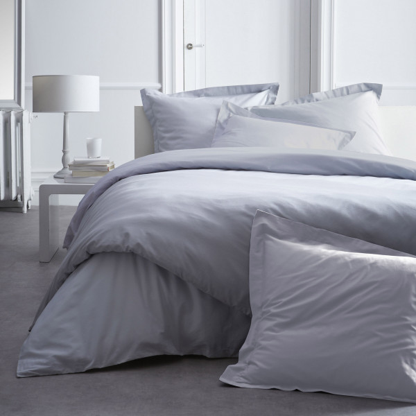 housse de couette today gris 220x240 en percale coton badaboum. Black Bedroom Furniture Sets. Home Design Ideas