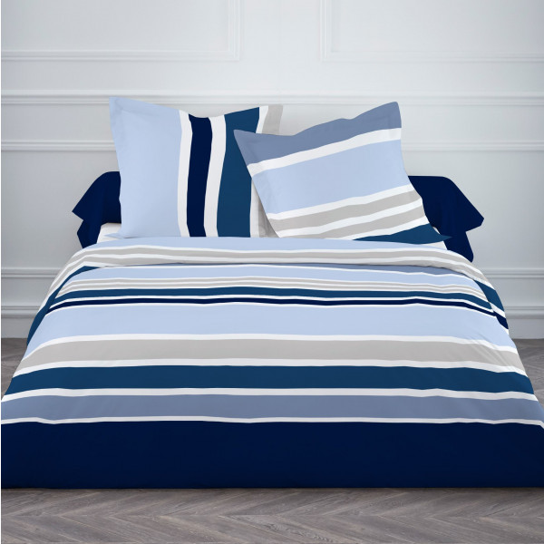 housse de couette today rayures bleu marine linge de lit. Black Bedroom Furniture Sets. Home Design Ideas