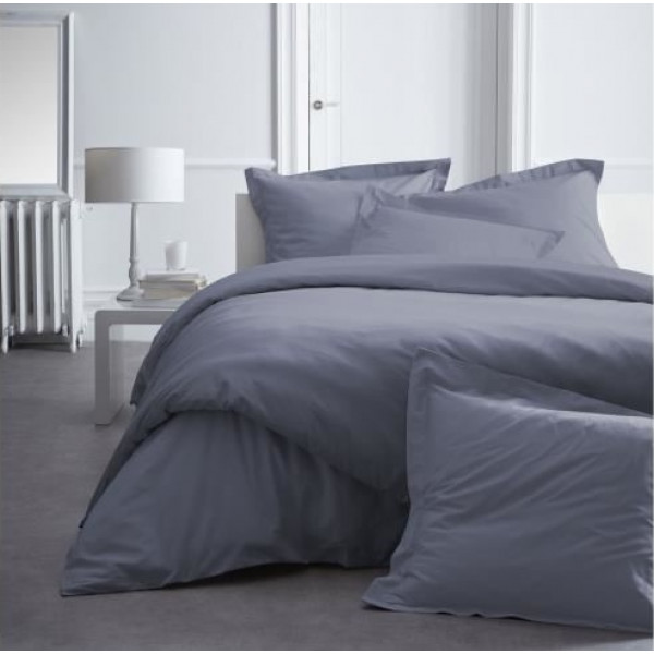 housse de couette percale 220x240 gris fonc housse de. Black Bedroom Furniture Sets. Home Design Ideas