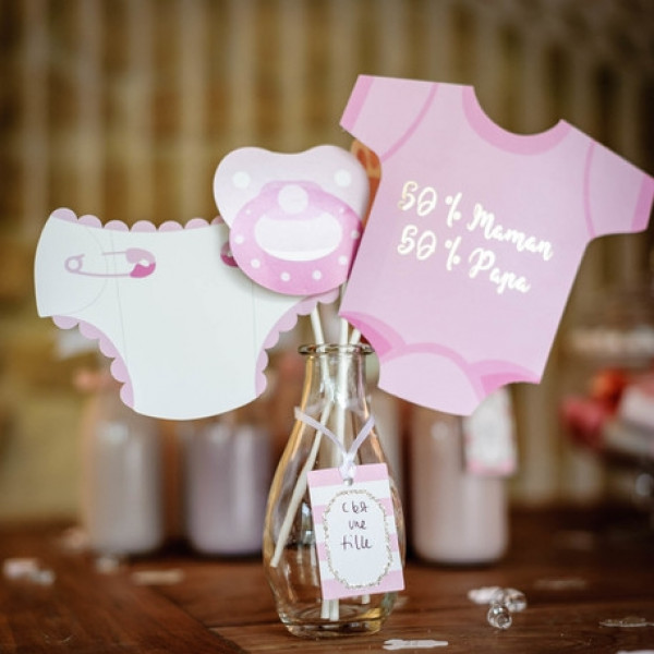 Kit Photobooth Baby Shower Fille X 11 Pieces