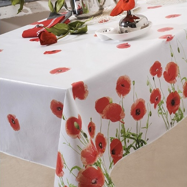 nappe caligomme au m tre red poppy protege table pas cher badaboum. Black Bedroom Furniture Sets. Home Design Ideas