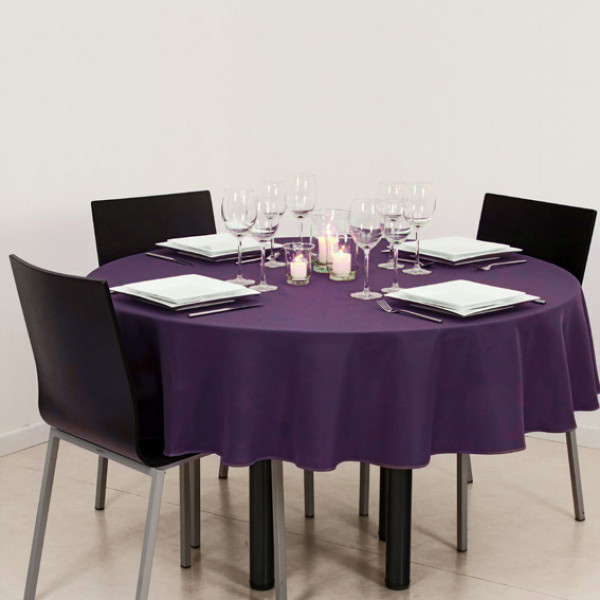 nappe ronde 180cm anti tache violet nappe en tissu pas. Black Bedroom Furniture Sets. Home Design Ideas