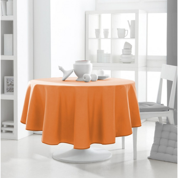 nappe ronde orange 180cm anti tache nappe en tissu pas. Black Bedroom Furniture Sets. Home Design Ideas