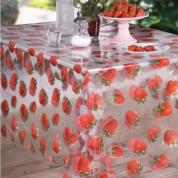 nappe transparente imprim es fraises rouge toile cir e au. Black Bedroom Furniture Sets. Home Design Ideas