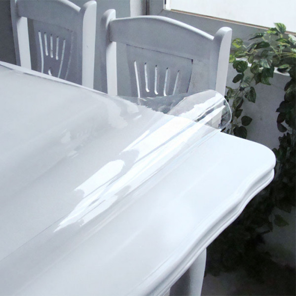Nappe transparente paisse pas cher toile cir e cristal for Table de salon transparente