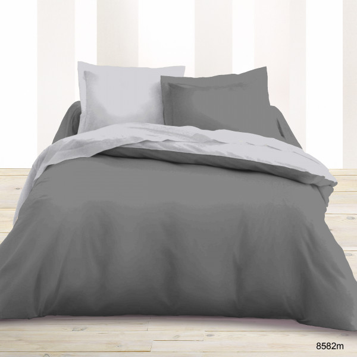 parure de lit 2 personne bicolore gris clair gris fonc linge de lit pas che. Black Bedroom Furniture Sets. Home Design Ideas