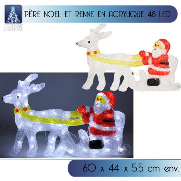 Pere noel et renne lumineux en acrylique 48 led d co noel for Pere noel decoration interieur