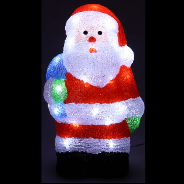 P re noel lumineux acrylique 40 led decoration noel exterieur for Pere noel decoration exterieur