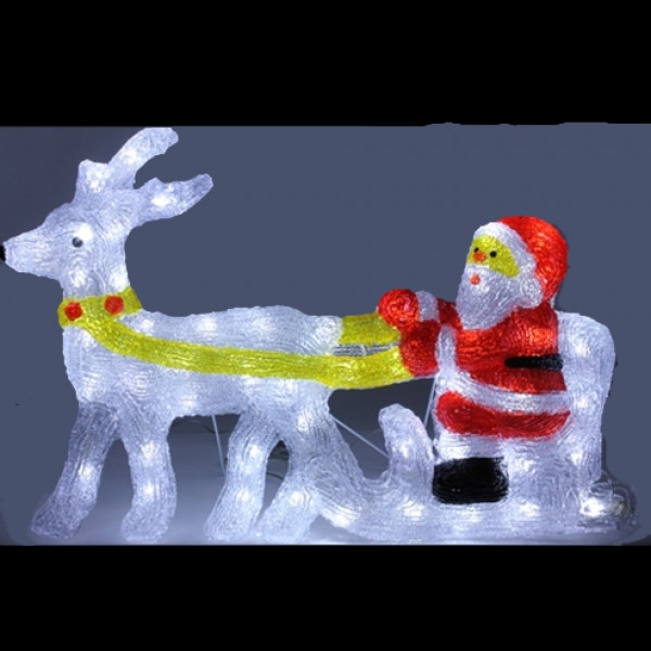 Pere noel et renne lumineux en acrylique 48 led d co noel for Pere noel decoration exterieur