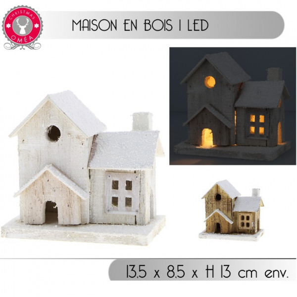 petite maison en bois noel 1 led decoration de noel badaboum. Black Bedroom Furniture Sets. Home Design Ideas