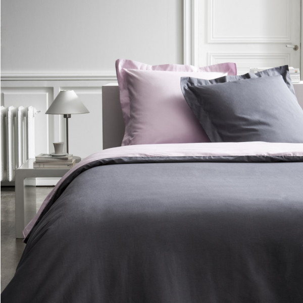 housse de couette percale 220x240 cm bicolore rose gris. Black Bedroom Furniture Sets. Home Design Ideas