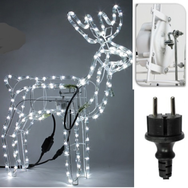 renne lumineux de noel avec t te tournante decoration noel badaboum. Black Bedroom Furniture Sets. Home Design Ideas