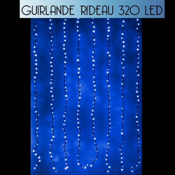 rideau lumineux de noel 320 led bleueffet goutte d 39 eau decoration noel badaboum. Black Bedroom Furniture Sets. Home Design Ideas