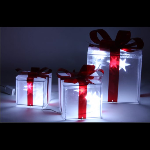 Paquets cadeaux lumineux x3 deco noel pas cher badaboum Decoration de noel exterieur lumineuse