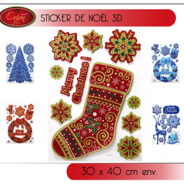 sticker de noel 3d pour d coration de vitre d co noel pas cher. Black Bedroom Furniture Sets. Home Design Ideas