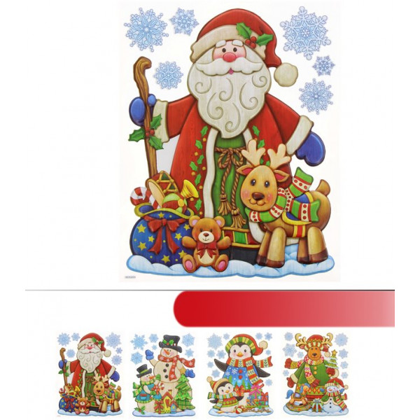 Sticker vitro statique de noel 20x59cm decoration noel for Decoration fenetre statique