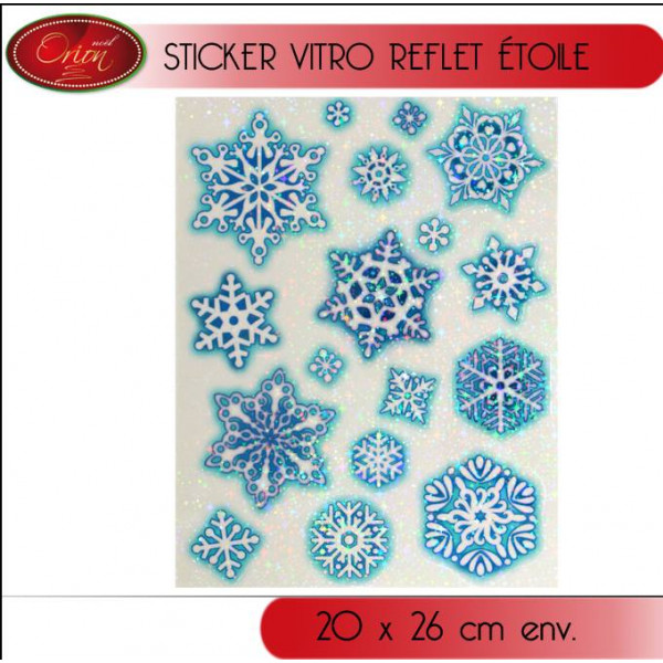 Stickers d coration de noel fen tre reflet etoile bleu for Decoration fenetre statique