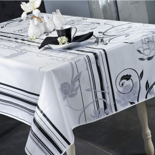 Nappe de table original d sign blanc toile cir e au m tre badaboum - Toile ciree au metre ikea ...