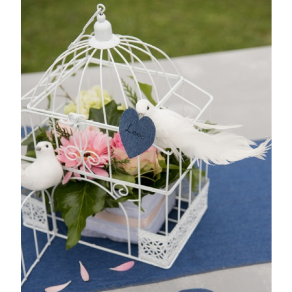 Urne cage oiseau rectangulaire blanche decoration mariage - Centre de table rectangulaire mariage ...