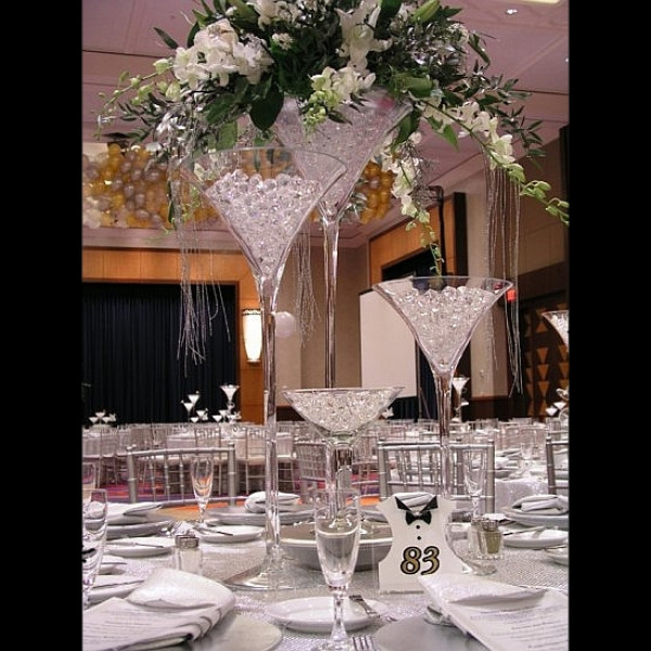 Vase martini mariage 70cm centre de table original - Miroir centre de table ...