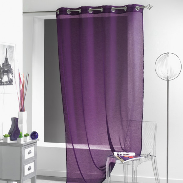 voilage violet today 135 x 240 cm rideaux voilages pas cher badaboum. Black Bedroom Furniture Sets. Home Design Ideas