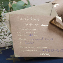 10 Cartes d'invitations kraft et Or
