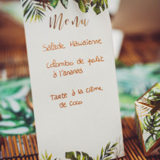 10 Menus Tropical Ivoire avec dorure