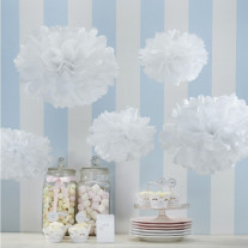 2 Boules pompons papier de soie Blanche 40 et 50 cm