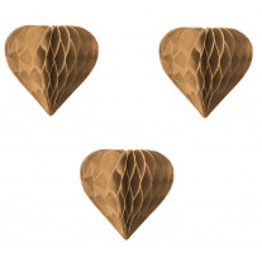 3 petits coeurs alvéolés Kraft 8cm