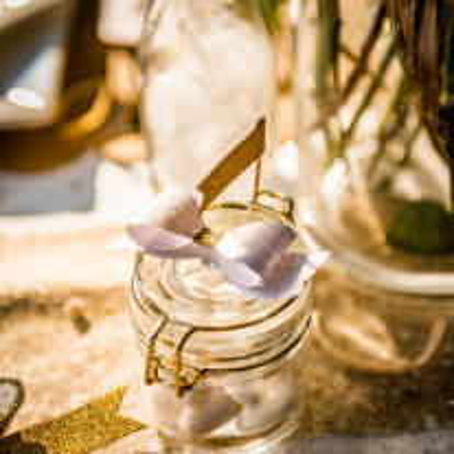 4 Noeuds papillon adhésifs paillettes or et blanc