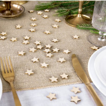 50 Confettis de table Etoile en bois naturel