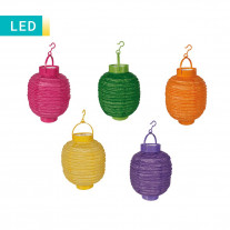 5 Lanternes en papier chinoise multicolore LED