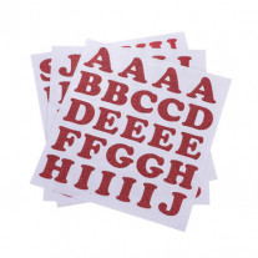 71 Stickers alphabet chiffre pailleté Rouge