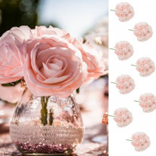 8 roses mousses rose sur tige 15cm