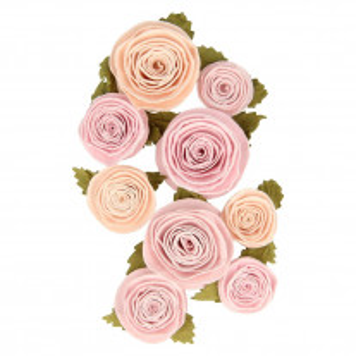 9 Fleurs en papier vieux rose