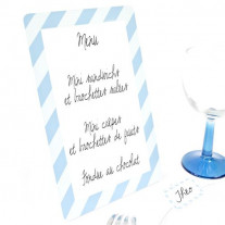 Ardoise menu candy bar bleu ciel